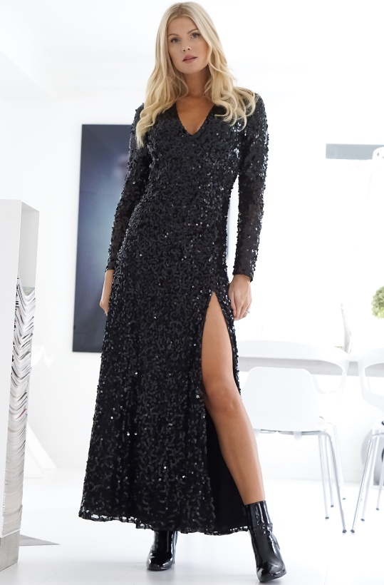 FRENCH CONNECTION - Helena Sparkle V-Neck MaxiDress