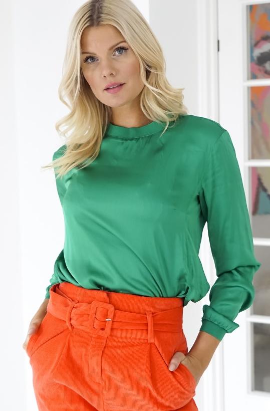 GUSTAV - Loose Woven T-shirt Green
