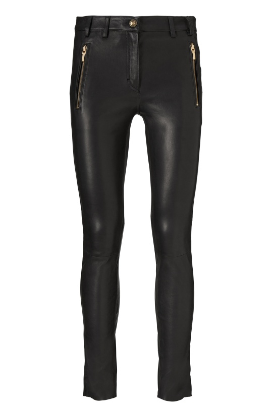 GUSTAV - Black Stretch Leather Pants with Zippers