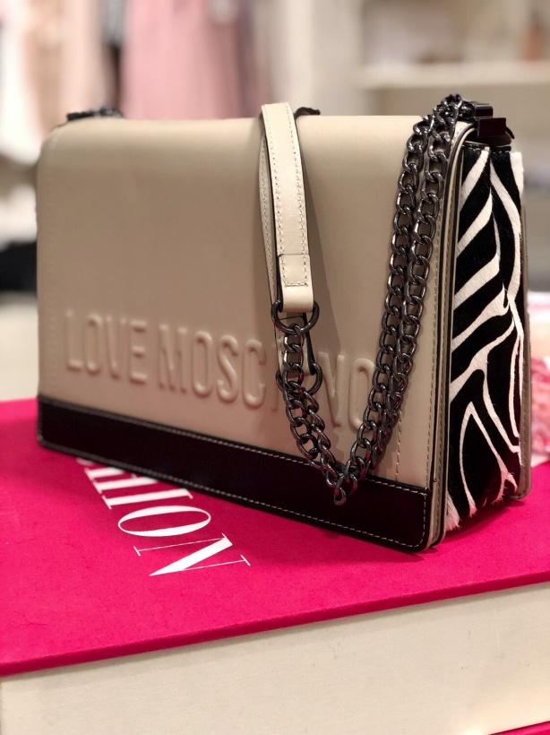 MOSCHINO - Creme Bag with Zebra Details