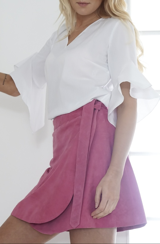 JUST FEMALE - Bubble Gum Suede Wrap Skirt