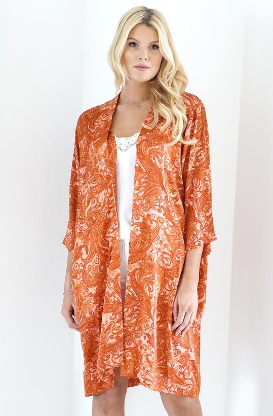 KARMAMIA - Pink Paisley Kimono Mid