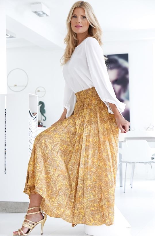 KARMAMIA - Canary Paisly Plisse Skirt