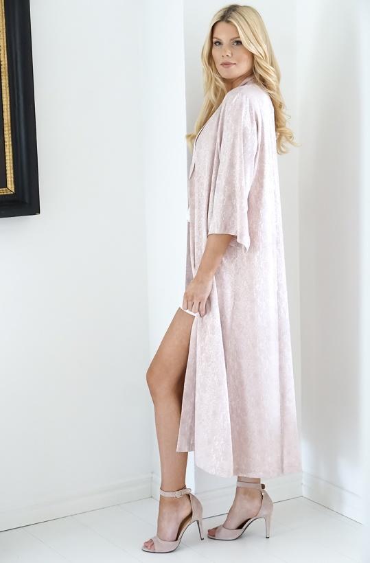 KARMAMIA - Kimono Pink Silver Snake Long
