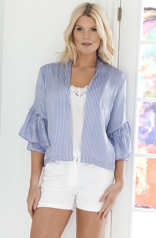 KARMAMIA - Blue Striped Kimono Jacket