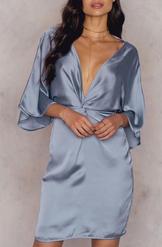NA-KD Kimono Knot Dress Blue