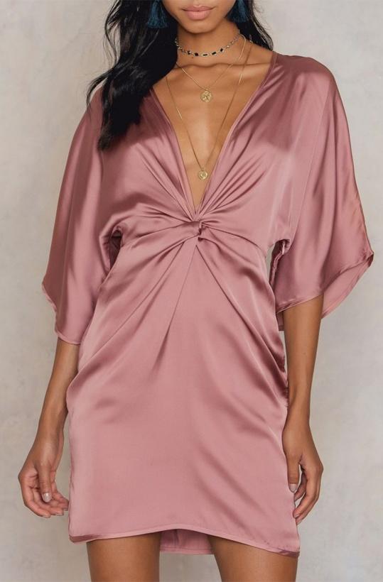 NA-KD Kimono Knot Dress