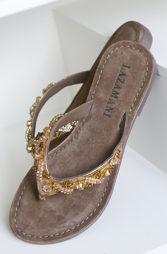 LAZAMANI - Flip Flop Strass Bronze