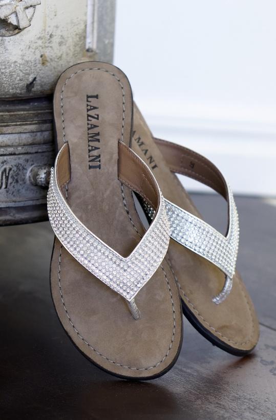 LAZAMANI - Flip Flops Silvriga