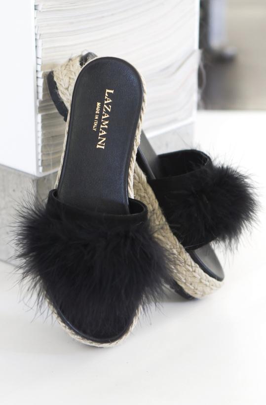 LAZAMANI - Mules Fluffy High Black