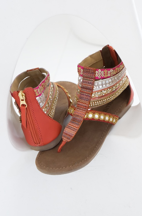 LAZAMANI - Sandal Strass High Coral Red