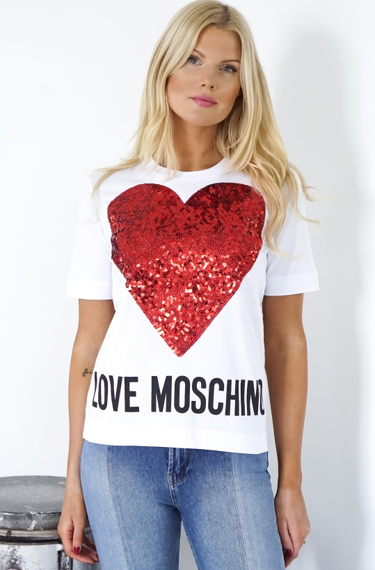 LOVE MOSCHINO - Red Heart Glitter Tshirt