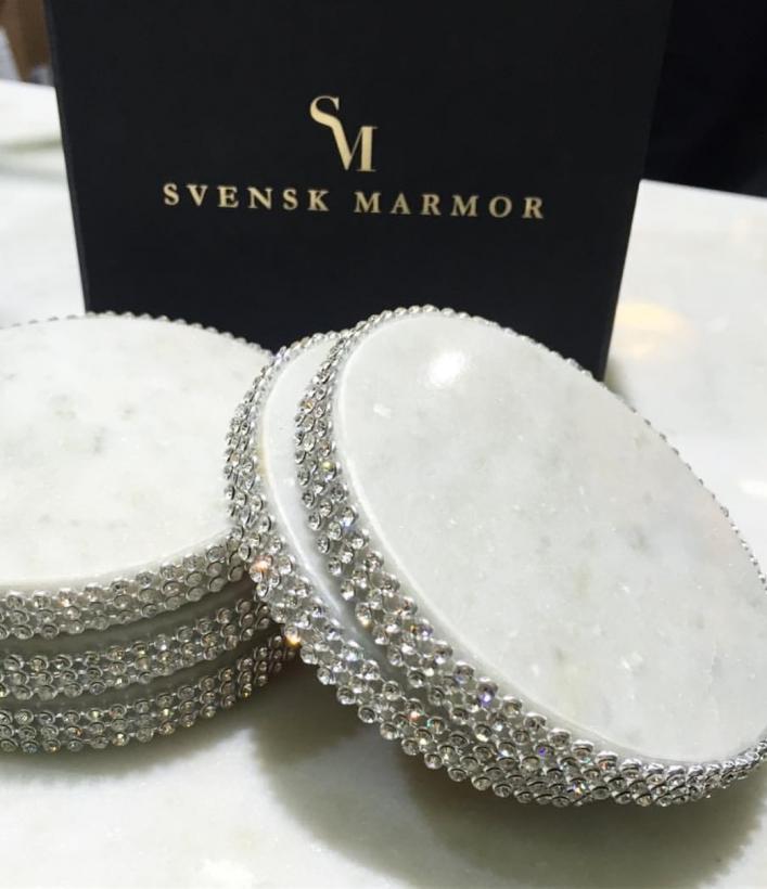 Svensk Marmor - Glasunderlägg med bling