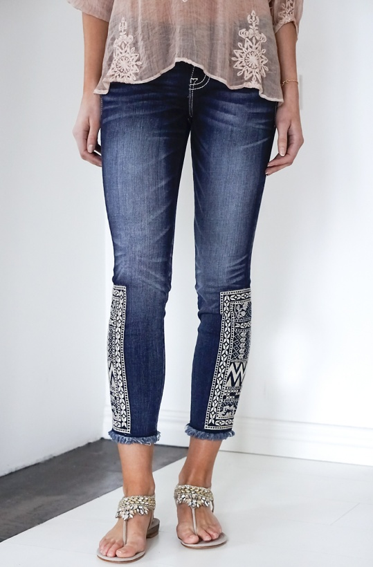 MISS ME - Born to Be BoHo Ankle Skinny