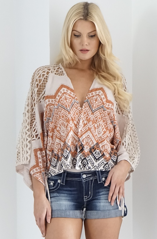 MISS ME - Taupe Beige Lace Top