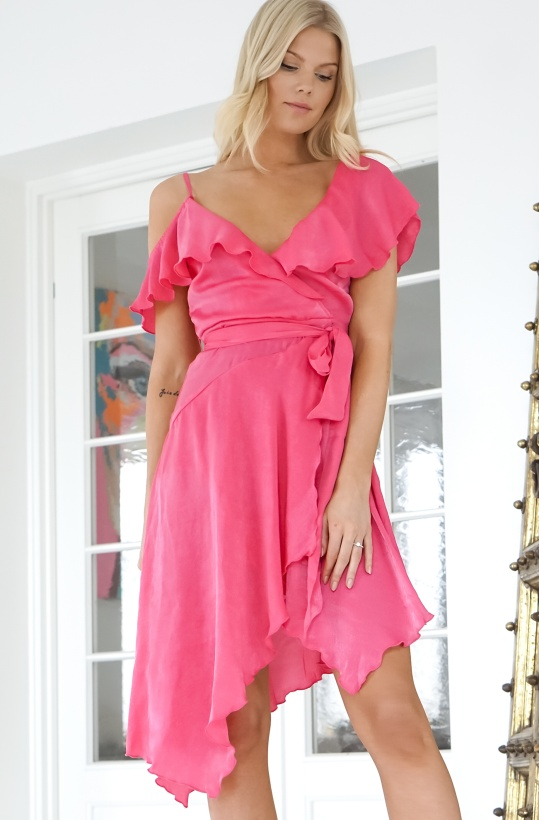 NA-KD - Asymmetric Wrap Dress Cerise