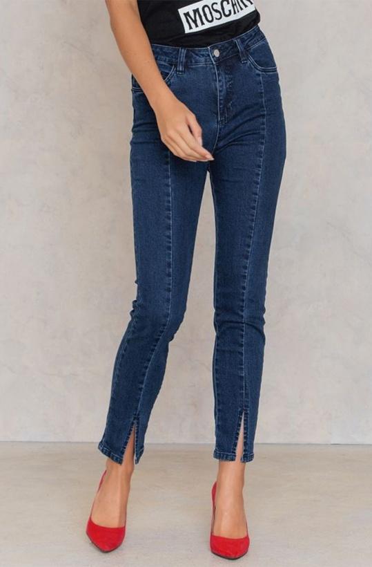 NA-KD - Highwaist skinny front slit jeans
