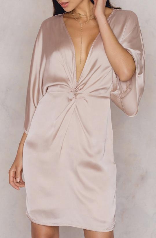 NA-KD - Kimono Knot Dress Pale Pink