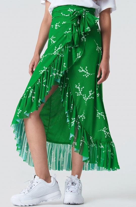 NA-KD - Mesh Overlap Maxi Skirt