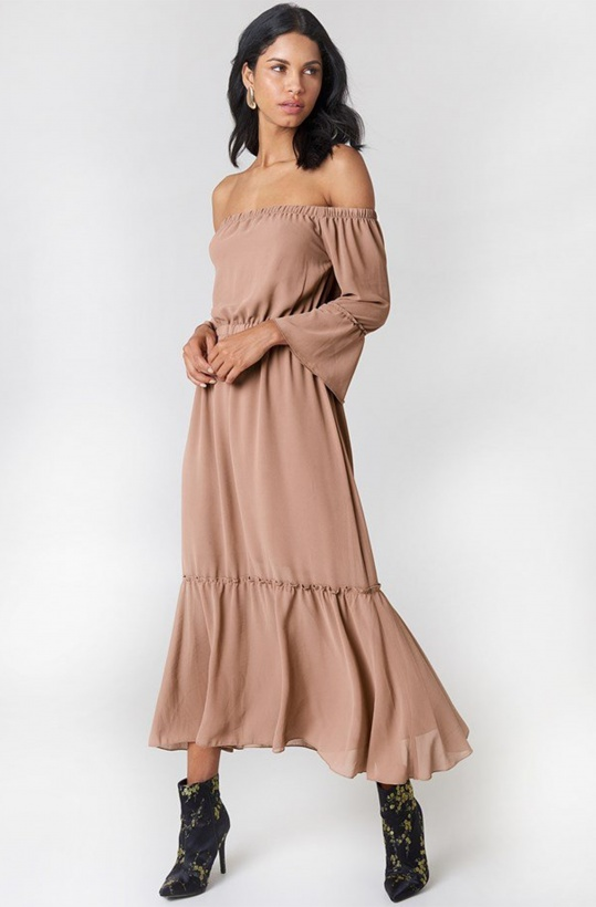 NA-KD - Nude OffShoulder Trumpet Frill Dress