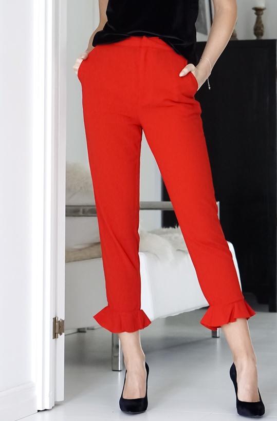 NA-KD - Red Frill Hem Pant
