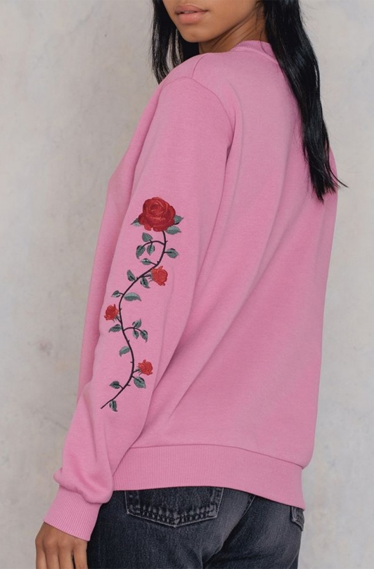 NA-KD - Rose Embroidery Sleeve Sweater