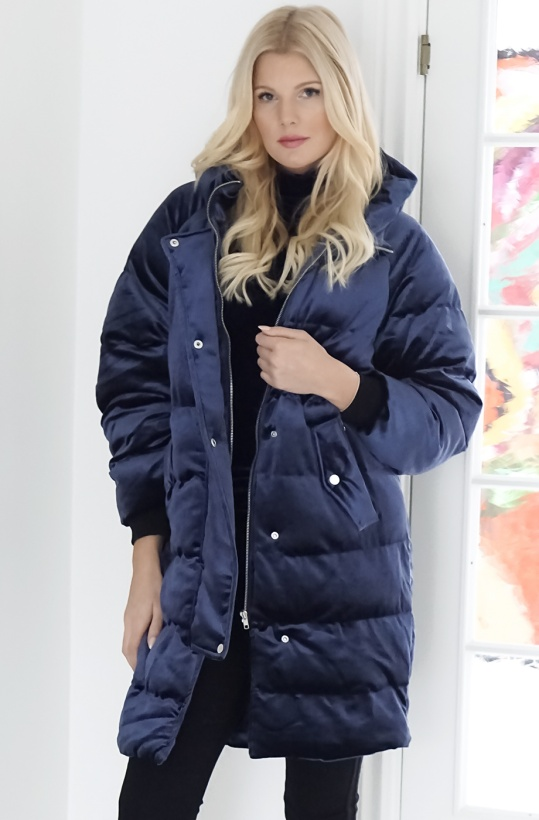 NA-KD - Velvet Puff Long Jacket Blue