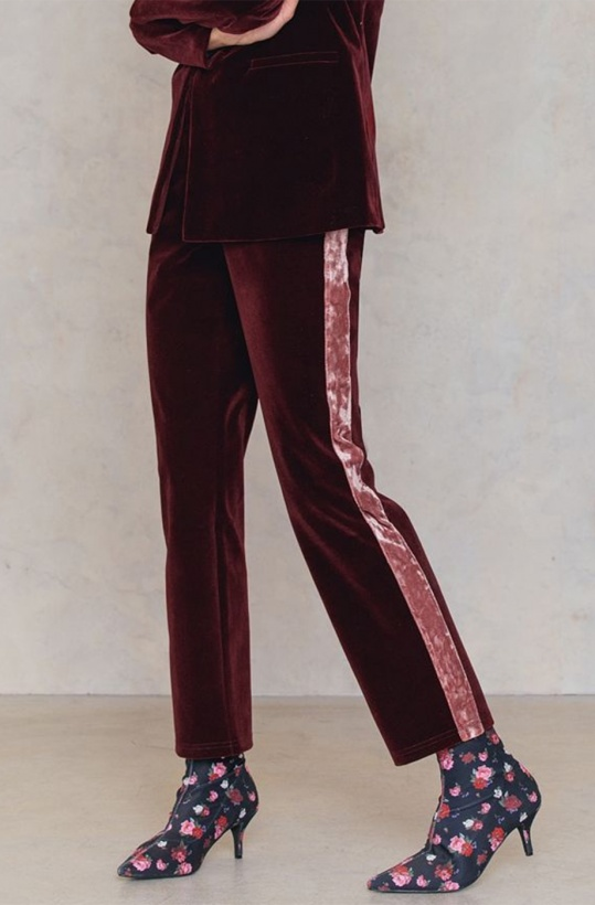 NA-KD - Velvet Striped Pants