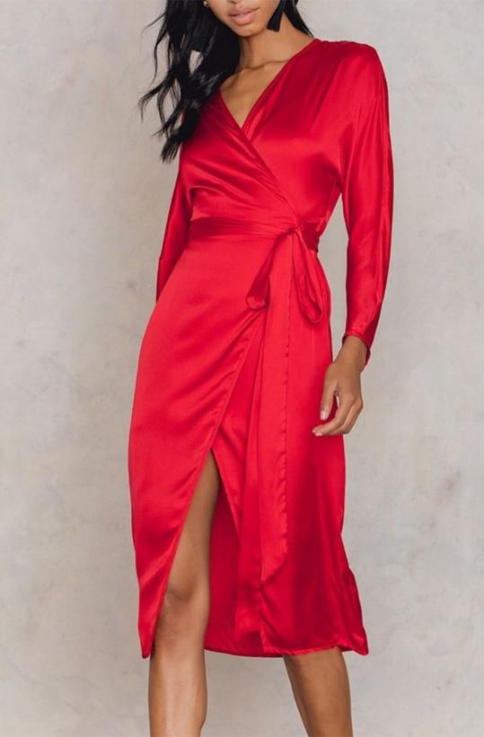 NA-KD Kimono Wrap Dress