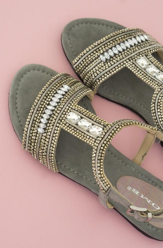 NOME - Sandal Grey Stones