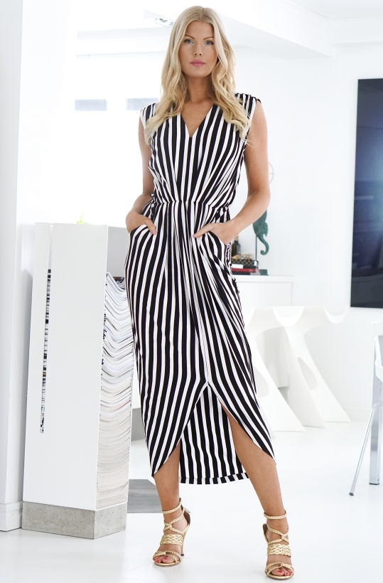 NOTES DU NORD - Dallas Maxi Dress Noir Stripe