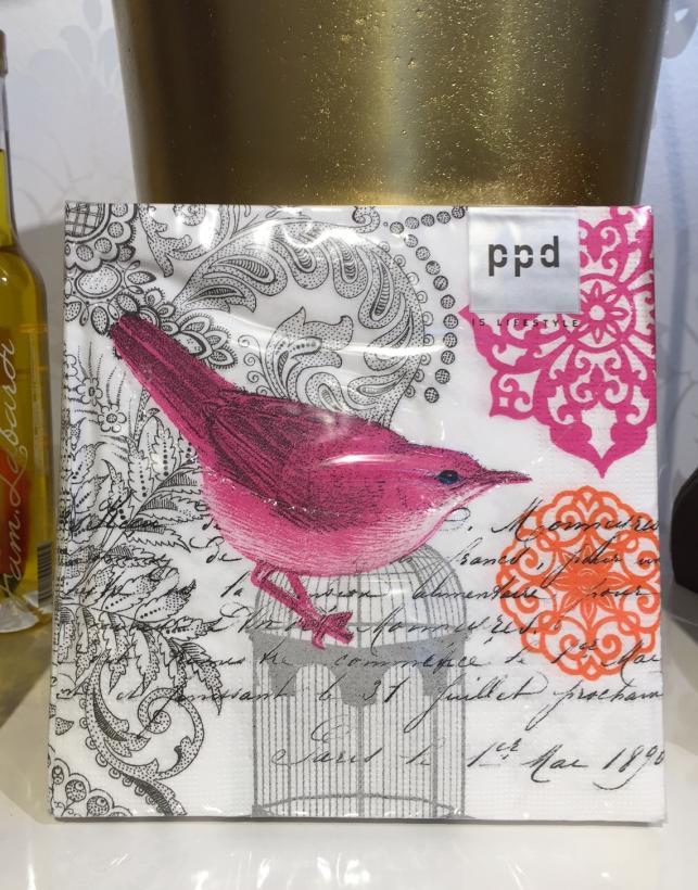 PPD - Rosa Fågel Servett