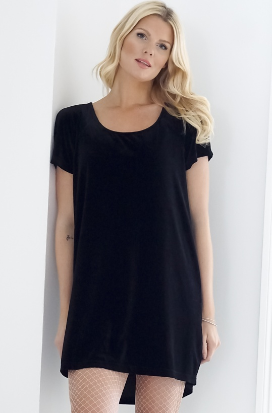 PLAIN VANILLA - Velvet Dress Short Sleeve