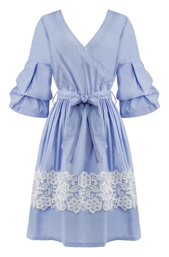 RINASCIMENTO - Blå Omlottklänning