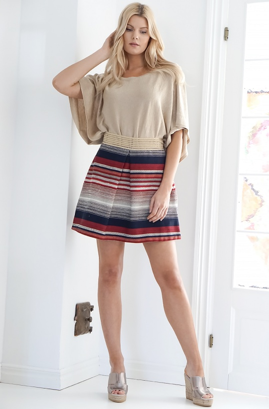 RINASCIMENTO - Striped Skirt with Gold