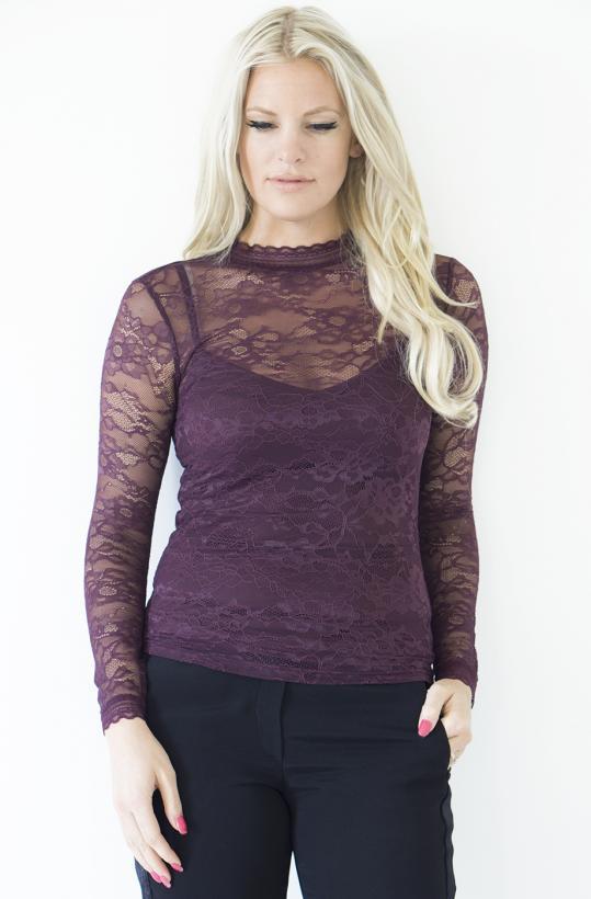 ROSEMUNDE - långärmad spets-tshirt