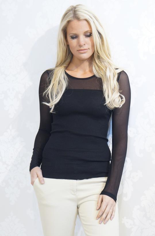 ROSEMUNDE - Silk Tshirt with Mesh Longsleeve