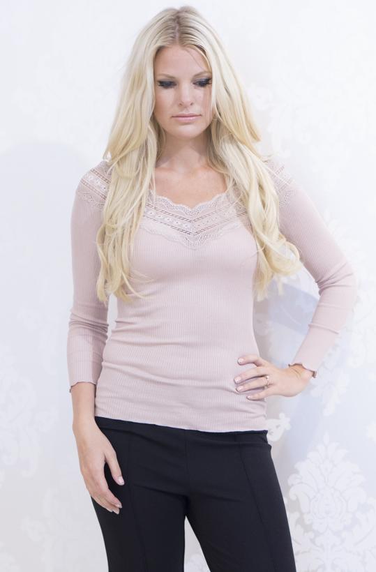 Rosemunde - Silk tshirt w wide lace