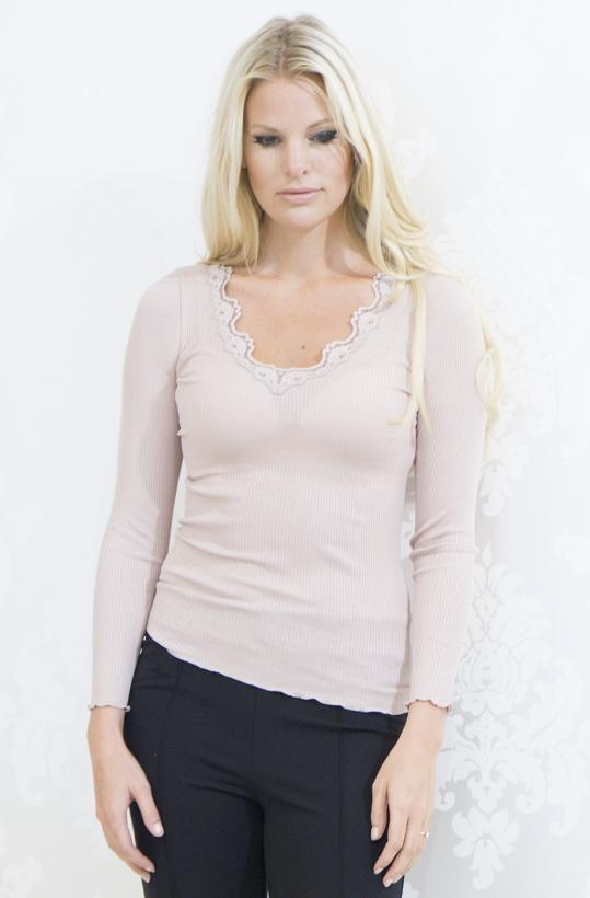 Rosemunde - Silk t-shirt with Vintage Lace