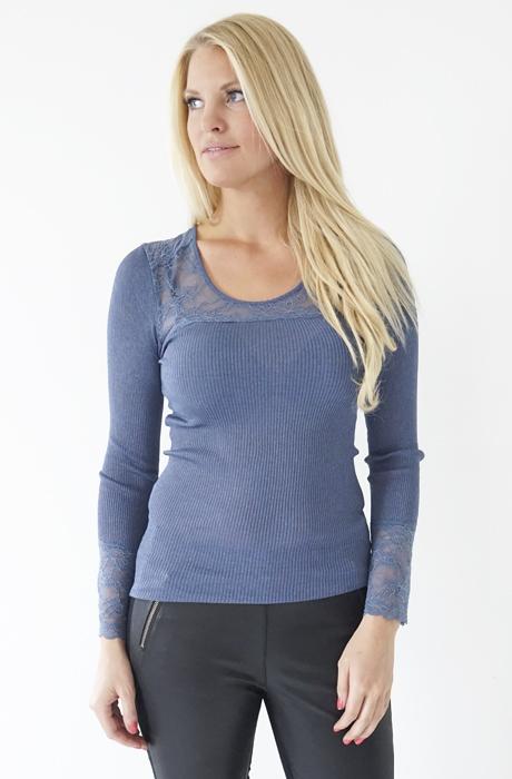 Rosemunde - Silk tshirt w lurex and lace