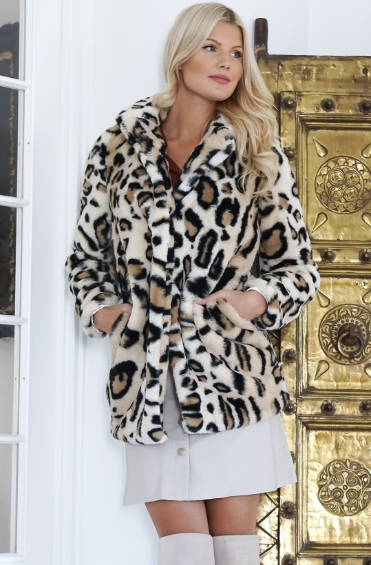 RUT & CIRCLE- Nova Faux Fur Leo Jacket