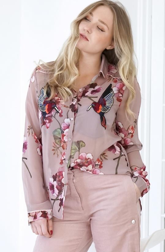 SOFIE SCHNOOR - Flower Bird Shirt Ash Rose