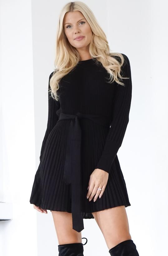 TWINSET - Plisserad Stickad Svart klänning