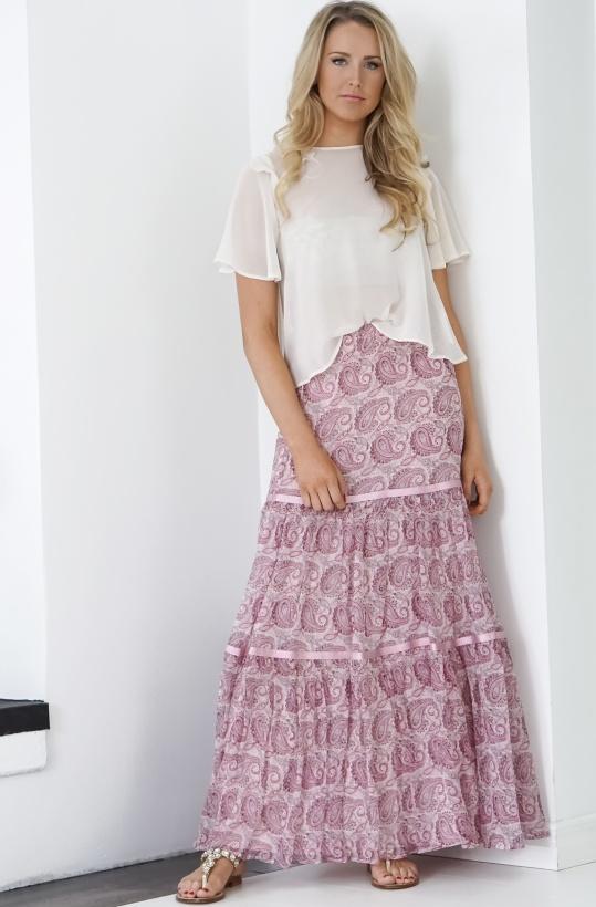 TWINSET - Långkjol rosa Paisley Silk