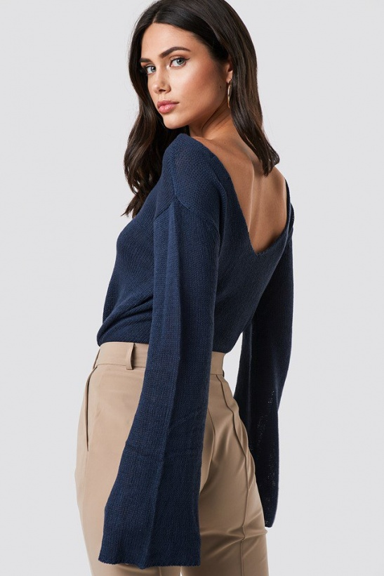 RUT & CIRCLE- Vanessa Back V-neck Knit