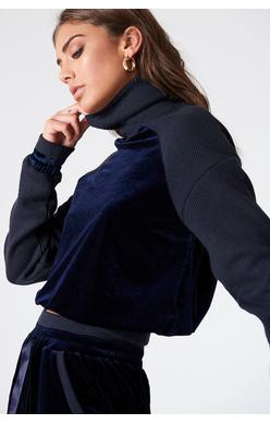 NA-KD - Velvet Sweater Navy