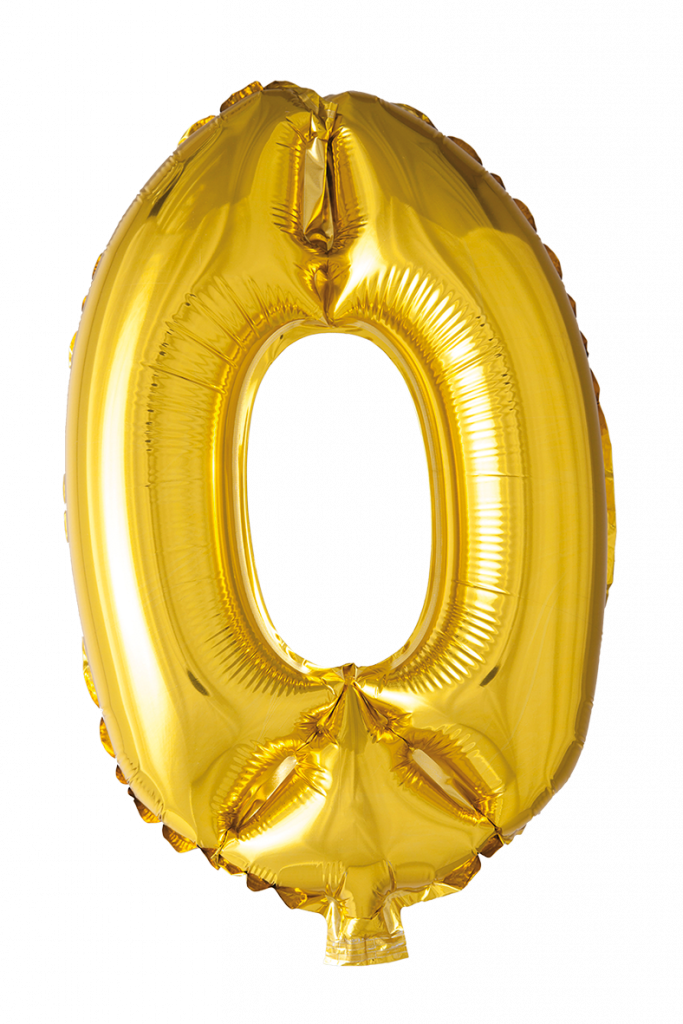 FOIL BALLOON NUMBER 0 GOLD 41 CM