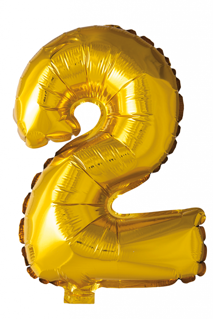 FOIL BALLOON NUMBER 2 GOLD 41 CM