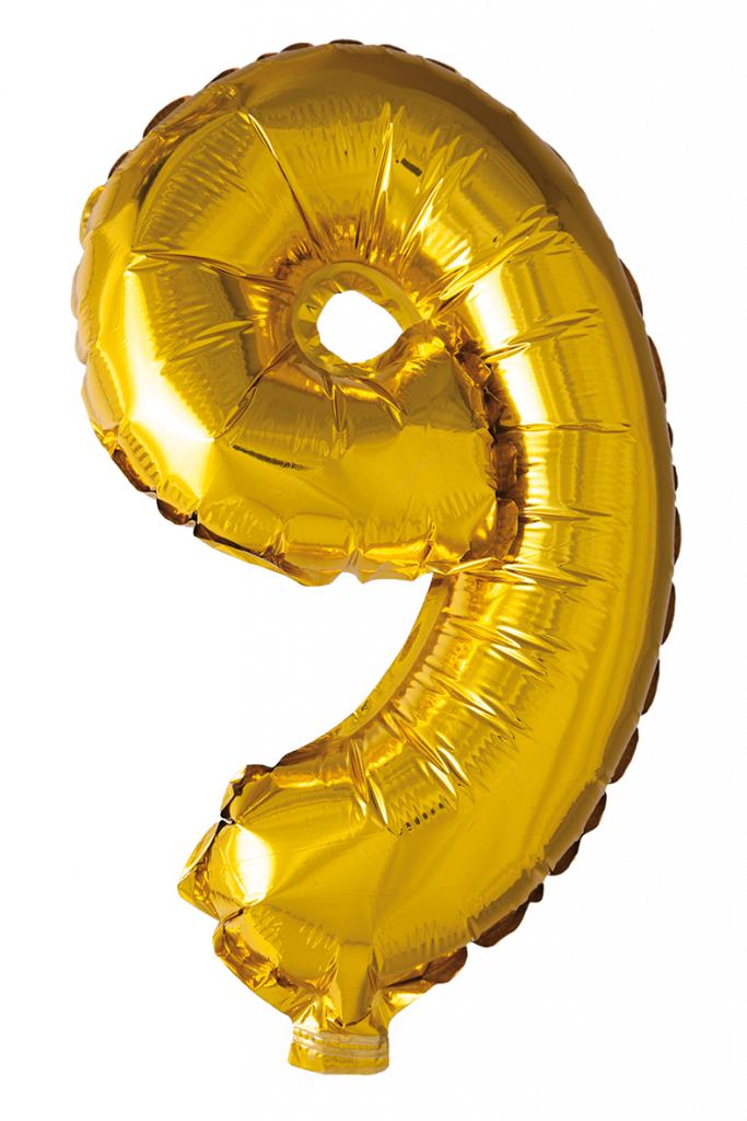 FOIL BALLOON NUMBER 9 GOLD 41 CM