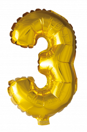 FOIL BALLOON NUMBER 3 GOLD 41 CM